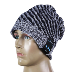 Ongkos Kirim Soft Warm Wool Hat Wireless Bluetooth Smart Cap Headset Headphone Gray Di Tiongkok