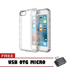 Softcase Anti Shock Anti Crack For Apple iPhone 4 Aircase - Putih Transparant + Free Usb Otg