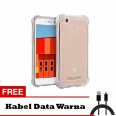 Softcase Anti Shock Anti Crack For Xiaomi Redmi 4X Jelly Aircase - Putih Transparant +  Free Kabel Data