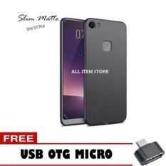 Softcase Black Matte Carbon Hp Vivo V7 Plus Silikon Babyskin + Free OTG Micro