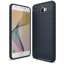 Softcase Carbon Fiber Anti-drop TPU Soft Phone Cases For Samsung Galaxy J7 Prime - Biru Navi + Free Tempered Galss