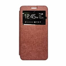 Softcase Casing for Samsung Galaxy A3 2017 / A320 Flip Cover / Flip Shell Delkin [Brown]