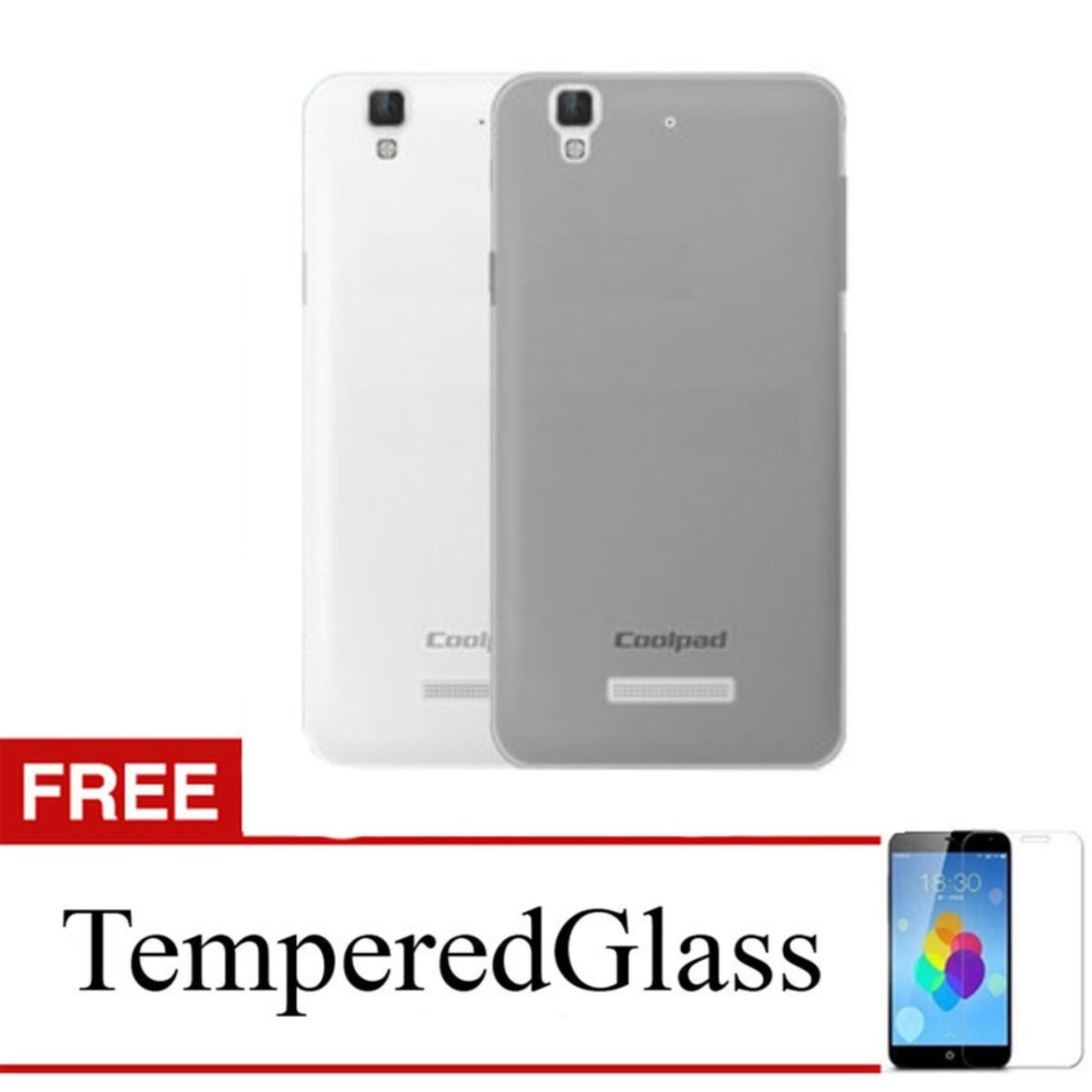 Softcase for CoolPad Roar 3 / A118 - Abu-abu + Gratis Tempered Glass - Ultra Thin