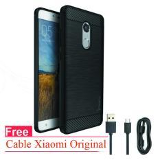 Promo Softcase Ipaky Original Carbon Hybrid Back Case For Xiaomi Redmi Note 4 Mediatek Black Free Cable Xiaomi Ori Case