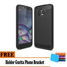 Softcase Ipaky Shockproof Matte Black karbon untuk Motorola Moto E4 Plus   - Free Holder Gurita