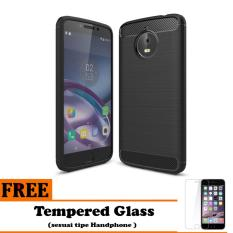 Softcase Ipaky Shockproof Matte Black karbon untuk Motorola Moto E4 Plus   - Free Tempered Glass
