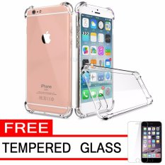 Softcase Silicon Anti Shock / Anti Crack Elegant Softcase  for Apple iPhone 6 / 6s / 6G - White Clear + Free Tempered Glass