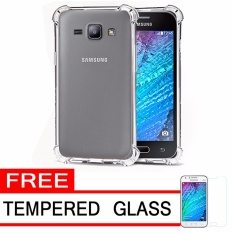Softcase Silicon Anti Shock / Anti Crack Elegant Softcase  for Samsung Galaxy J1 2015 (J100) - White Clear + Free Tempered Glass