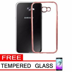 Softcase Silicon Jelly Case List Shining Chrome for Samsung Galaxy A3 2017 - Rose Gold +