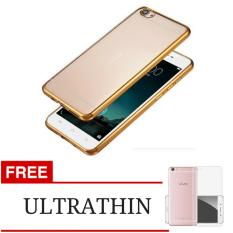 Softcase Ultrathin Silicon Shining List Chrome Jelly Case For Vivo V5 / Y67 - Gold + Gratis Ultrathin
