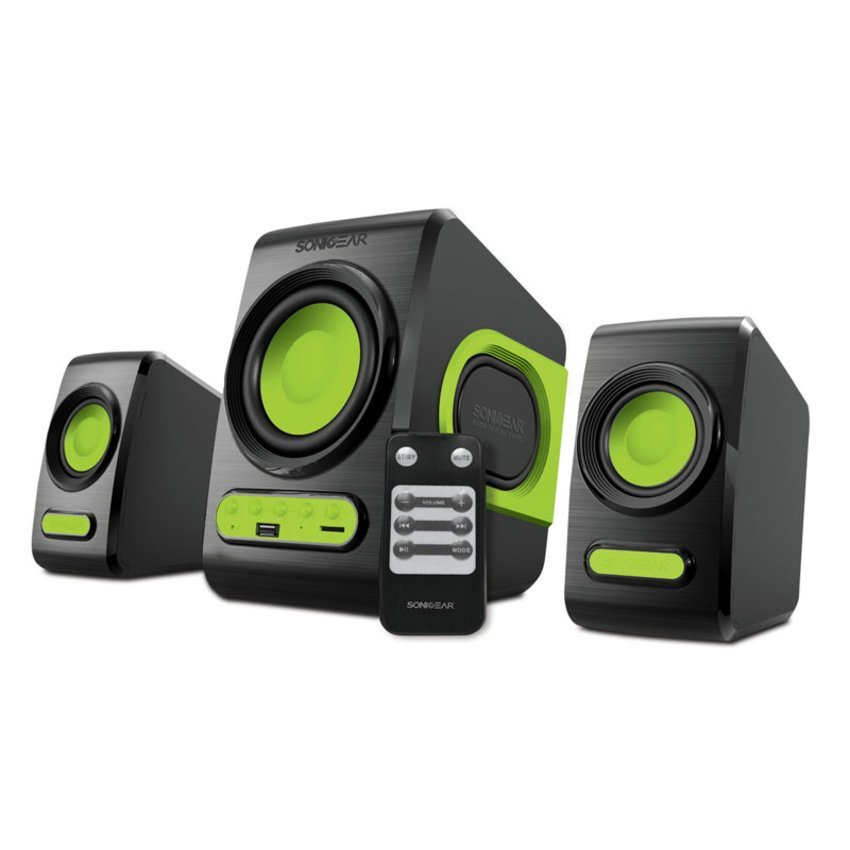 Sonic Gear Speaker 2 1 Quatro V Speakers Komputer Laptop Notebook Macbook Windows Kabel Aux Sonicgear Super Bass Slot Usb Sd Card Perlengkapan Audio Video Musik Lagu Mp3 Portable Suara Jernih Ideal Unik Plus Fm Radio Dan Remote Control Hijau Sonic Gear Diskon 50