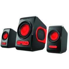 Sonic Gear Speaker 2.1 Quatro V Speakers Komputer Laptop Notebook Macbook Windows Kabel Aux Sonicgear Super Bass Slot USB SD Card Perlengkapan Audio Video Musik Lagu MP3 Portable Suara Jernih Ideal Unik Plus FM Radio dan Remote Control - Merah