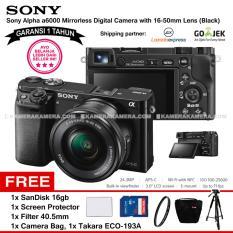 Diskon Besarsony Alpha 6000 Black With 16 50Mm Lens Mirrorless Camera A6000 Wifi 24 3Mp Full Hd Garansi 1Th Sandisk 16Gb Screen Guard Filter 40 5Mm Camera Bag Takara Eco 193A