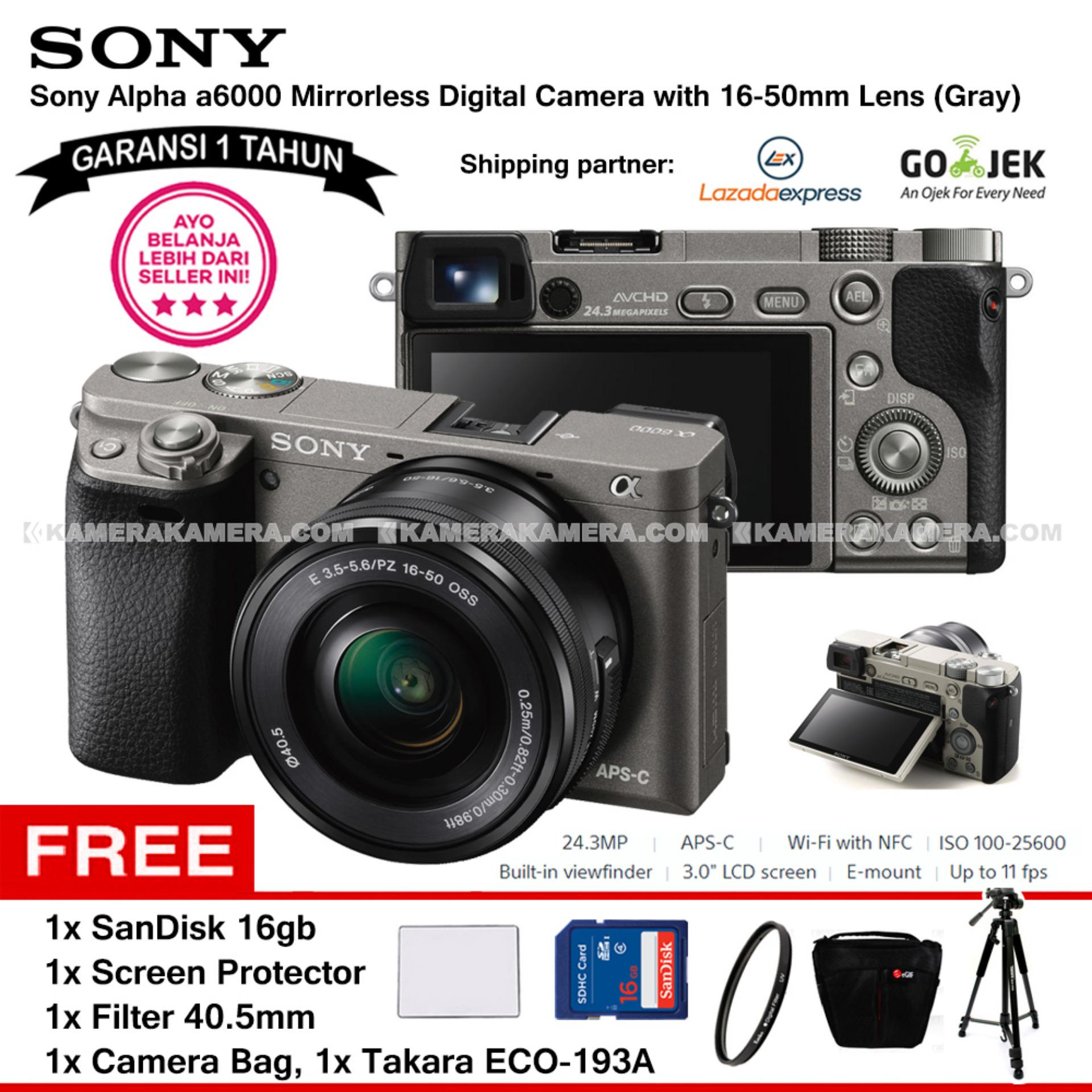 SONY Alpha 6000 Gray with 16-50mm Lens Mirrorless Camera a6000 - WiFi 24.3MP Full HD (Garansi 1th) + SanDisk 16gb + Screen Guard + Filter 40.5mm + Camera Bag + Takara ECO-193A