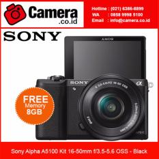 Sony Alpha A5100 Kit 16-50mm - Black +FREE 8GB - Kamera Mirrorless