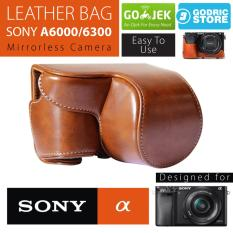 Sony Alpha A6000 / A6300 Leather Bag / Case / Tas Kulit Kamera Mirrorless - Coklat Muda