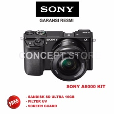 Sony Alpha A6000 Kit 16 50 Camera Mirrorless Black A6000L A 6000L Sony Diskon 50