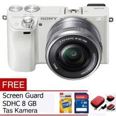 Sony Alpha A6000L Kit 16-50mm Lens Kamera Mirrorless - 24.3 MP - Putih Free Memory Card, Screen Guard dan Tas Camera