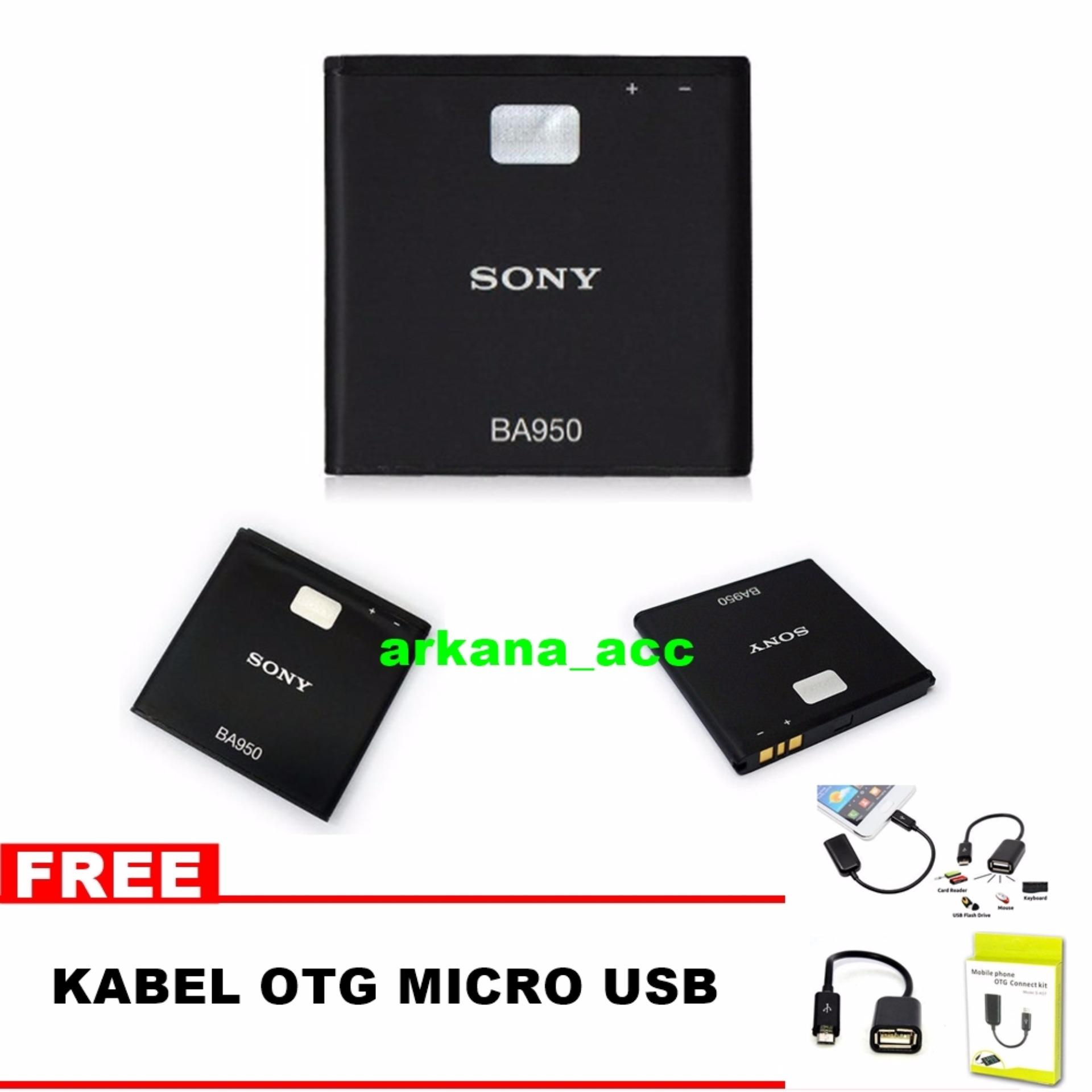 Sony Baterai BA950 For Xperia ZR Original Nonpacking + Bonus Kabel OTG Micro Usb