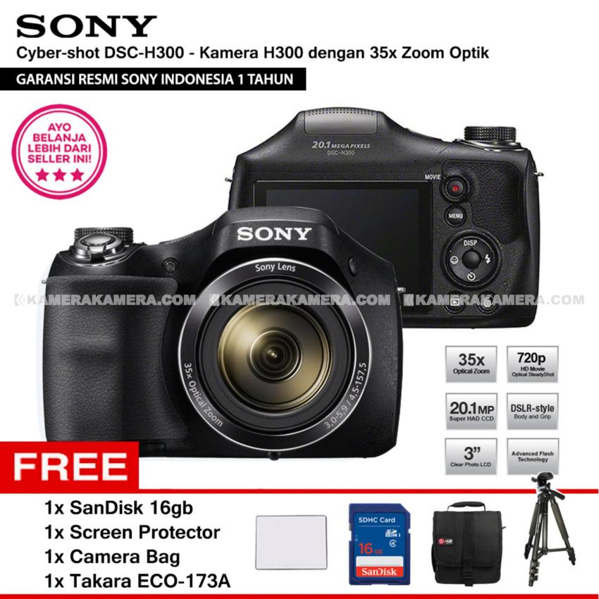 Review Pada Sony Cyber Shot Dsc H300 Digital Camera H300 Resmi Sony 20 1Mp 35X Zoom Sandisk 16Gb Screen Protector Camera Bag Takara Eco 173A