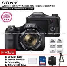 SONY Cyber-shot DSC-H300 Digital Camera H300 (Resmi Sony) 20.1MP 35x Zoom + SanDisk 16gb + Screen Protector + Camera Bag + Takara ECO-173A