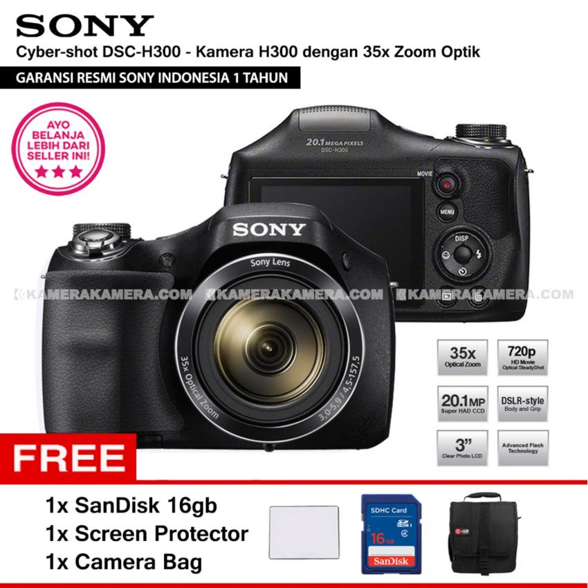 Spesifikasi Sony Cyber Shot Dsc H300 Digital Camera H300 Resmi Sony 20 1Mp 35X Zoom Sandisk 16Gb Screen Protector Camera Bag Bagus
