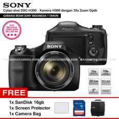 Sony Cyber Shot Dsc H300 Digital Camera H300 Resmi Sony 20 1Mp 35X Zoom Sandisk 16Gb Screen Protector Camera Bag Sony Diskon