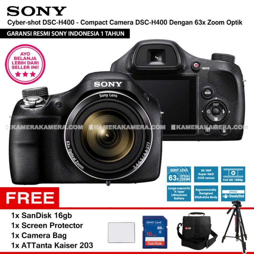 SONY Cyber-shot DSC-H400 - Compact Camera H400 63x Optical Zoom (Resmi Sony) + SanDisk 16gb + Screen Protector + Camera Bag + ATTanta Kaiser 203
