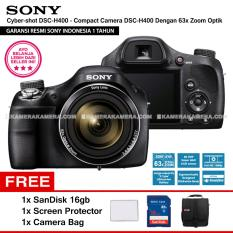 SONY Cyber-shot DSC-H400 - Compact Camera H400 63x Optical Zoom (Resmi Sony) + SanDisk 16gb + Screen Protector + Camera Bag