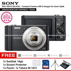 SONY Cyber-shot DSC-W810 Compact Camera W810 (BLACK) 20.1 MP 6x Optical Zoom HD Movie 720p - Resmi Sony + SanDisk 16gb + Screen Protector + Camera Pouch + Takara M-1031