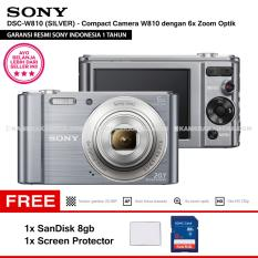 SONY Cyber-shot DSC-W810 Compact Camera W810 (SILVER) 20.1 MP 6x Optical Zoom HD Movie 720p - Resmi Sony + SanDisk 8gb + Screen Protector