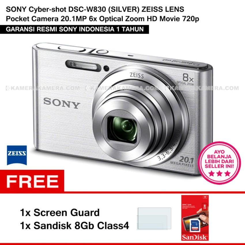 Sony Cyber-Shot Dsc-W830 (Silver) Zeiss Lens Pocket Camera 20.1Mp 8X Optical Zoom Hd Movie 720P + Screen Guard + Sandisk 8Gb(Silver)