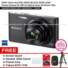 SONY Cyber-shot DSC-W830 (BLACK) ZEISS Lens Pocket Camera 20.1MP 8x Optical Zoom HD Movie 720p + Screen Guard + Sandisk 16Gb + Pocket Case + Takara ECO-173A