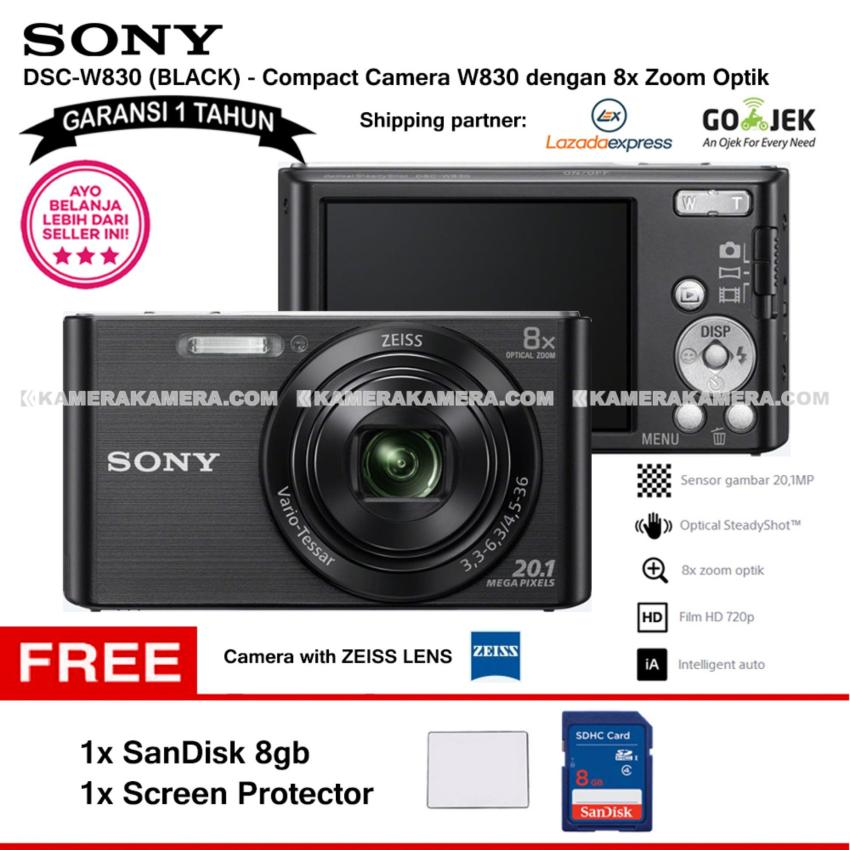 SONY Cyber-shot DSC-W830 Compact Camera W830 (BLACK) Zeiss Lens 20.1 MP 8x Optical Zoom HD Movie 720p - Garansi 1th + SanDisk 8gb + Screen Protector