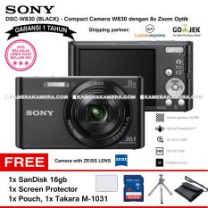 SONY Cyber-shot DSC-W830 Compact Camera W830 (BLACK) Zeiss Lens 20.1 MP 8x Optical Zoom HD Movie 720p - Garansi 1th + SanDisk 16gb + Screen Protector + Camera Pouch + Takara M-1031