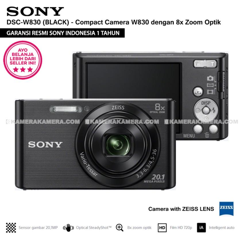 Sony Cyber Shot Dsc W830 Compact Camera W830 Black Zeiss Lens 20 1 Mp 8X Optical Zoom Hd Movie 720P Resmi Sony Sony Murah Di Dki Jakarta
