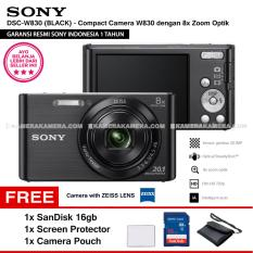 SONY Cyber-shot DSC-W830 Compact Camera W830 (BLACK) Zeiss Lens 20.1 MP 8x Optical Zoom HD Movie 720p - Resmi Sony + SanDisk 16gb + Screen Protector + Camera Pouch