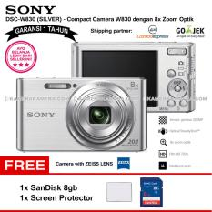 SONY Cyber-shot DSC-W830 Compact Camera W830 (SILVER) Zeiss Lens 20.1 MP 8x Optical Zoom HD Movie 720p - Garansi 1th + SanDisk 8gb + Screen Protector