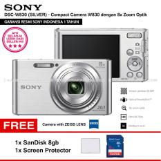 SONY Cyber-shot DSC-W830 Compact Camera W830 (SILVER) Zeiss Lens 20.1 MP 8x Optical Zoom HD Movie 720p - Resmi Sony + SanDisk 8gb + Screen Protector