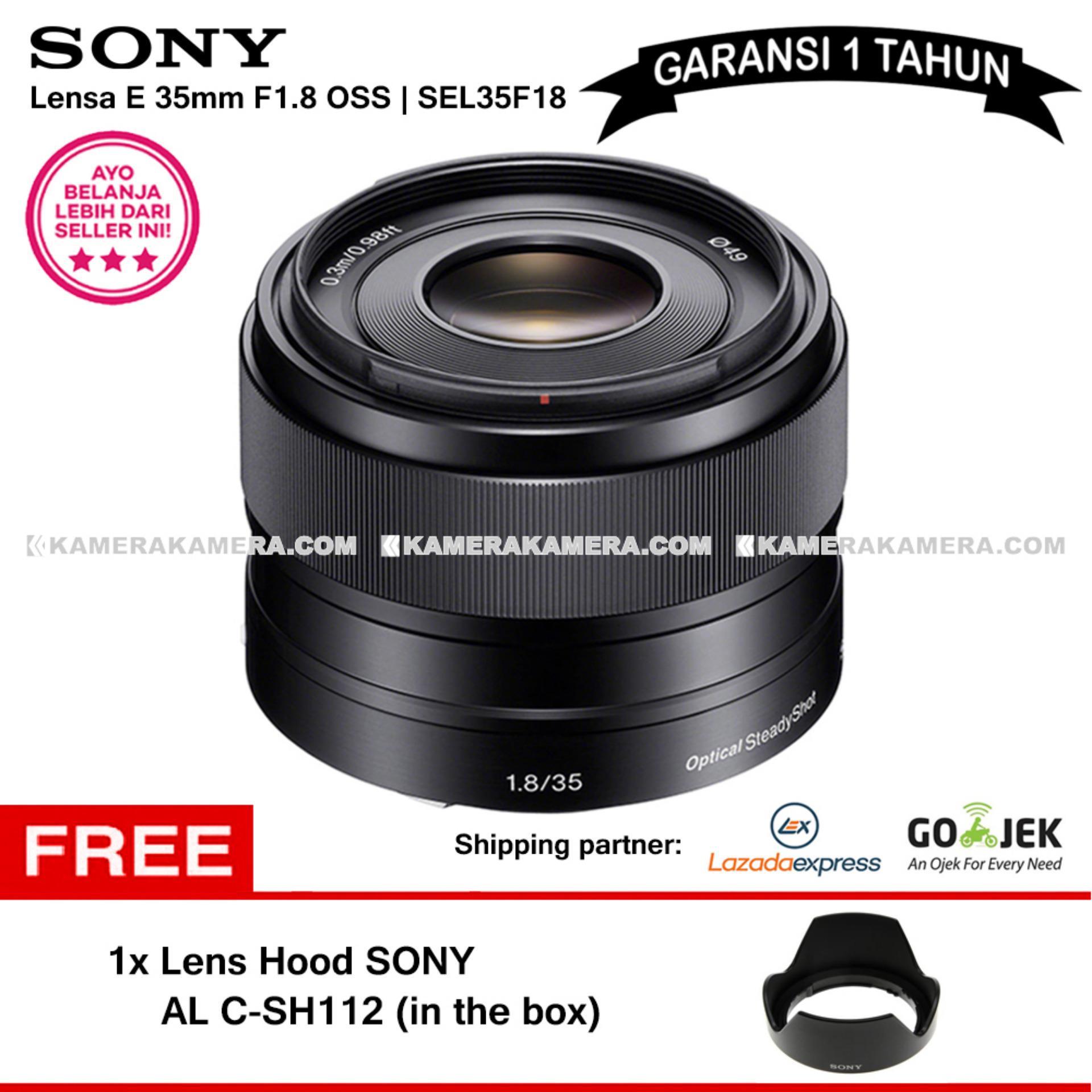 SONY E 35mm f/1.8 OSS Alpha E-mount Prime Lens SEL35F18 (Garansi 1th) + Sony Lens Hood Original