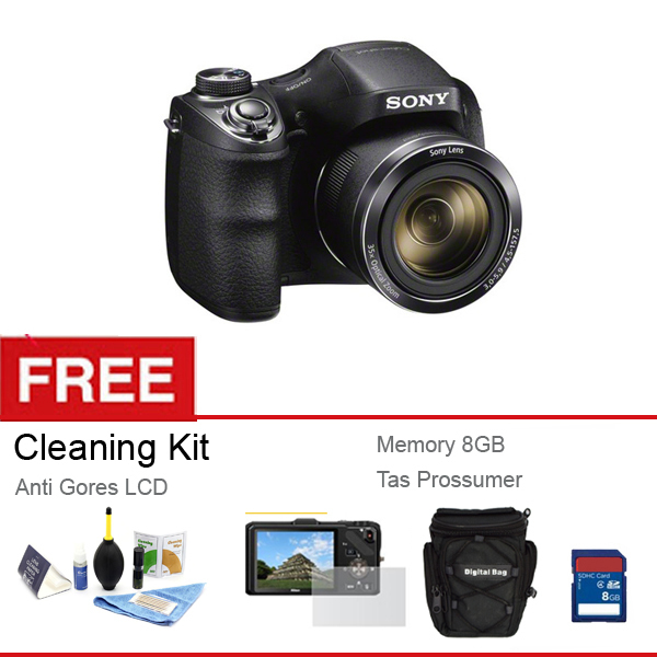 Toko Sony H 300 20 Mp 35X Optical Zoom Hitam Gratis Memory 8 Gb Anti Gores Lcd Tas Cleaning Kit Dekat Sini