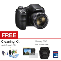Sony H-300 - 20 MP - 35x Optical Zoom - Hitam + Gratis Memory 8 GB + Anti Gores LCD + Tas + Cleaning Kit
