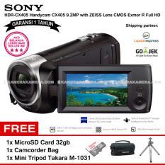SONY HDR-CX405 Handycam CX405 9.2MP with ZEISS Lens CMOS Exmor R Full HD (Garansi 1th) + MicroSD Card 32gb + Camcorder Bag + Mini Tripod Takara M-1031
