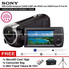 SONY HDR-CX405 Handycam CX405 9.2MP with ZEISS Lens CMOS Exmor R Full HD (Resmi Sony) + MicroSD Card 16gb + Camcorder Bag + Mini Tripod Takara M-1031