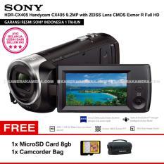 SONY HDR-CX405 Handycam CX405 9.2MP with ZEISS Lens CMOS Exmor R Full HD (Resmi Sony) + MicroSD Card 8gb + Camcorder Bag