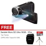 Jual Beli Online Sony Hdr Pj410 Avchd Projector Handycam Full Hd Gratis Sandisk Ultra Micro 16Gb Case Mini Tripod