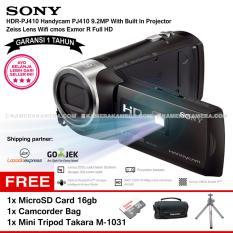 SONY HDR-PJ410 Handycam PJ410 9.2MP With Built In Projector Zeiss Lens Wifi cmos Exmor R Full HD (Garansi 1th) + MicroSD Card 16gb + Camcorder Bag + Mini Tripod Takara M-1031