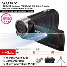 SONY HDR-PJ410 Handycam PJ410 9.2MP With Built In Projector Zeiss Lens Wifi cmos Exmor R Full HD (Resmi Sony) + MicroSD Card 32gb + Camcorder Bag + Mini Tripod Takara M-1031