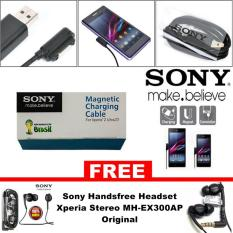 Sony Magnetic Charging Cable for Xperia Z1 / Z2 / Z3 / Z Ultra - Hitam + Sony Handsfree Headset Xperia Stereo MH-EX300AP Original - HItam