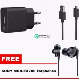 Sony Quick Charger Uch10 Fast Charging Original Gratis Handsfree Sony Ex300 Original Murah